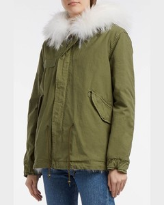 Coyote Fur-Lined Cotton-Canvas Parka