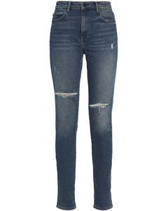 Distressed faded high-rise slim-leg jeans
