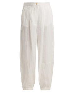 Striped wide-leg linen-blend trouser