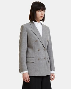 Double-Breasted Wool Blazer Jacket