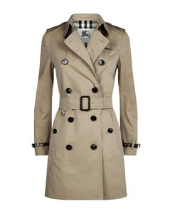 Kensington Leather Trim Mid-Length Trench Coat