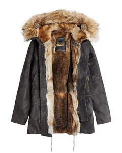 Cotton Parka with Fur Lining and Trim