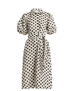 Polka-dot linen shirtdress
