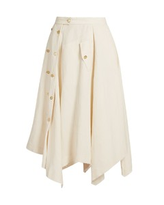Asymmetric raw-hem linen-blend midi skirt
