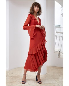ALLUDE LONG SLEEVE DRESS red
