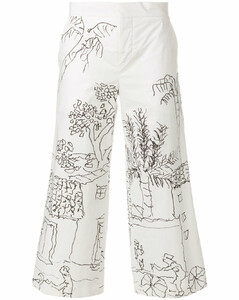 illustrated cropped trousers