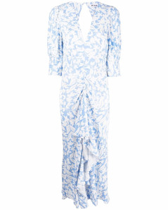 Ruffle-trimmed sleeveless linen dress