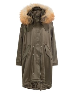 Wool Blend Satin Parka with Fox Fur