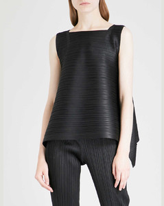Ribbed jersey-trimmed scuba turtleneck top