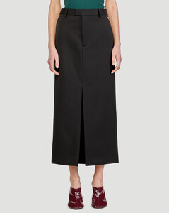 Fluted-front silk crepe de Chine skirt