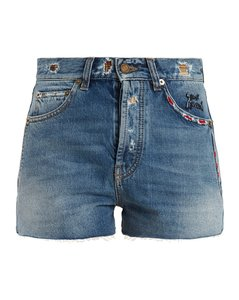 High-rise raw-edge denim shorts