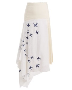 Swallow-embroidered contrast-panel linen skirt