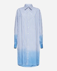 Meridian striped broderie-anglaise cotton trousers