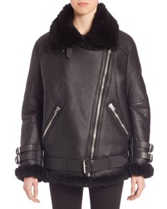 Oversized Shearling Moto Jacket