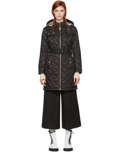 Black Quilted Long Baughton Coat
