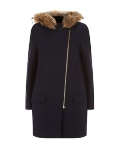 Fur Trimmed Parka Coat