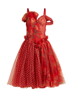 Pleated floral-print and checked organza dress
