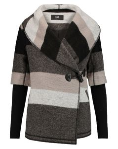 Blossom striped wool-blend felt coat