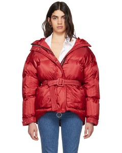 Red Michlin Belted Down Puffer Jacket
