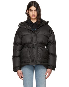 Black Michlin Belted Down Puffer Jacket