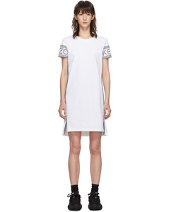 Oversized Long-Sleeve Crewneck Shirtdress, White