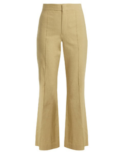 Reeves kick-flare linen-blend cropped trousers
