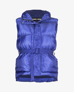 Belted puffer vest with hood
