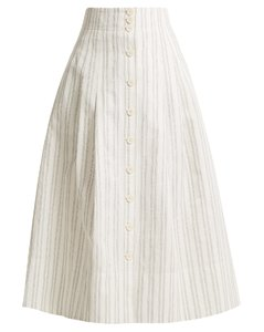 Striped cotton and linen-blend skirt
