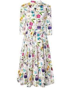 White Floral Avery Midi Buttoned Dress