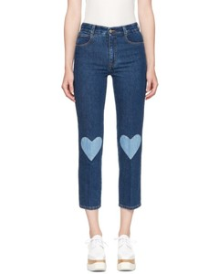 Blue High Waist Cropped Skinny Jeans