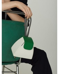 Color Block Handle Bag(5color)+chain Strap