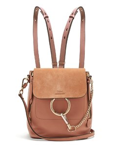 Faye small suede-panel leather backpack