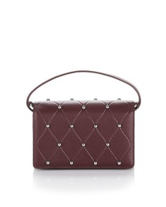 ATTICA BIKER PURSE IN BEET WITH BALL STUDS