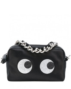 Eyes Glittered Leather Chain Clutch