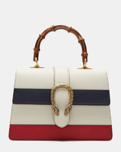 Women's Dionysus Leather Top Handle Handbag in White, Navy and Red