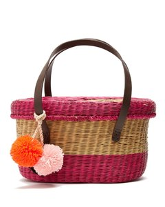 Serenella striped wicker basket bag
