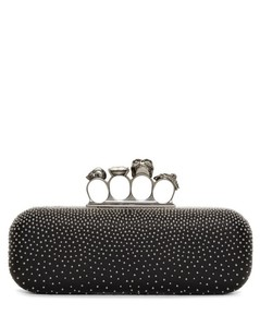 Black Studded Long Knuckle Box Clutch