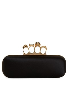 Black Satin Long Knuckle Box Clutch