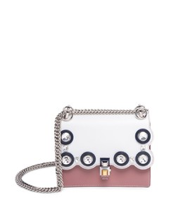 Kan I Crystal-Studded Two-Tone Leather Chain Bag