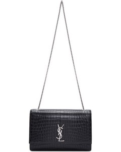 Black Croc Large Monogram Kate Satchel