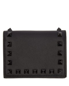 Black Valentino Garavani Small Rockstud French Flap Wallet