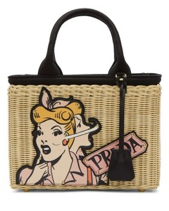 Beige Comic Girl Basket Bag