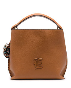 Small Trilly Metal Piping Suede Bucket Bag