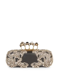 Jeweled Four Ring Beaded Clutch Purse
