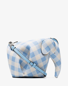 blue and white Elephant mini gingham leather shoulder bag
