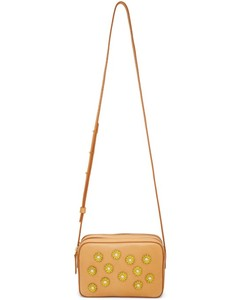Tan Floral Embellished Double Zip Crossbody Bag