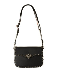Leather Rolling Rockstud Shoulder Bag