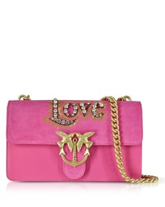 Love Suede and Leather Shoulder Bag w/Crystals