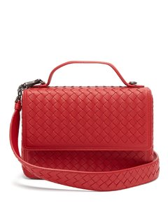 Intrecciato-woven leather satchel