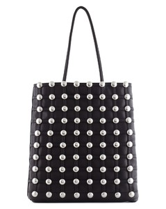 DOME STUDDED CAGE LEATHER TOTE